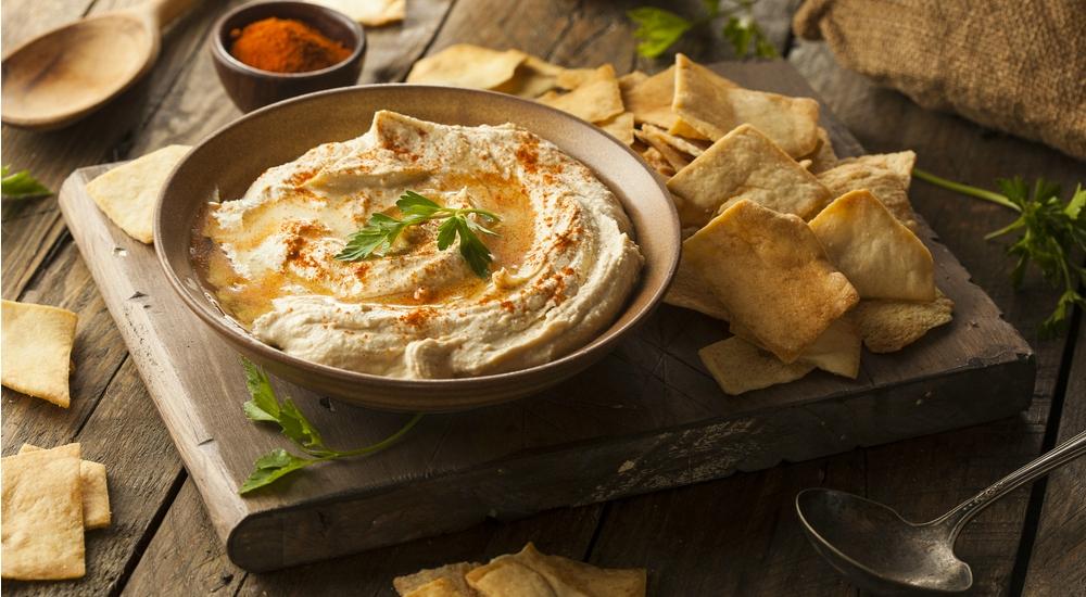 Hummus de cebollas caramelizadas y pimientos soasados