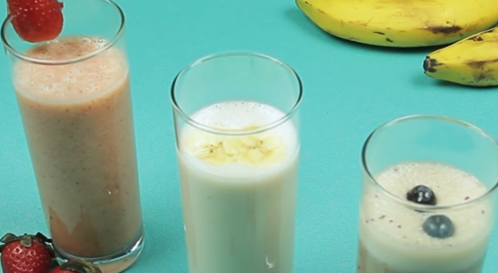 3 smoothies con plátano