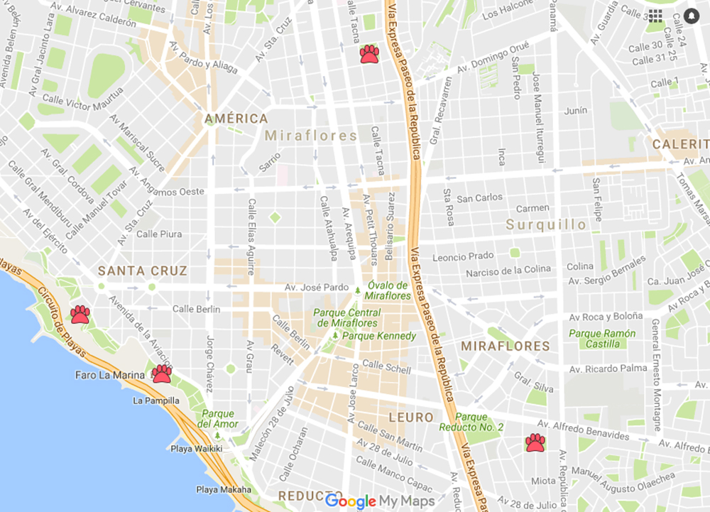 Mapa con parques para perros en Miraflores